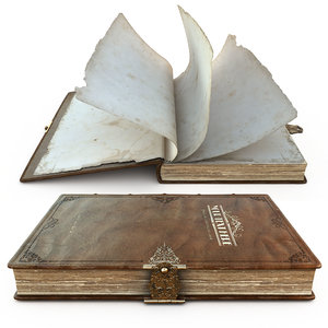 old engraved book rigged 3D model