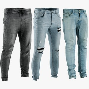 3D realistic men s jeans model
