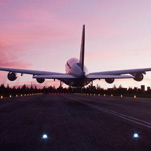 3D model airplane landing environment airport scene
