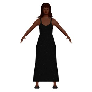 3D black lady dress
