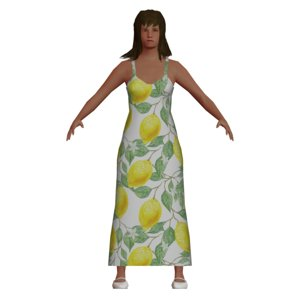 3D low-poly woman wearing dress