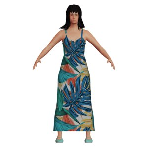 3D adult asian woman dress