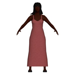3D model low-poly lady dress