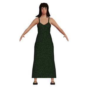 young low-poly asian woman dress 3D model