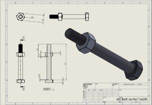 bolt nut m6 thread 3D