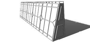 3D futuristic modular wall muralla model