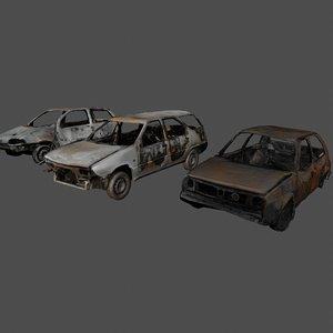 set wrecked cars 3D
