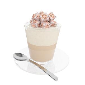 3D coffee marshmallow glass