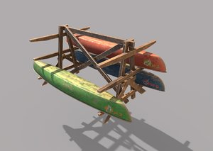 3D canoe storage rack model