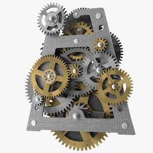 3D clockwork gears mixed clock
