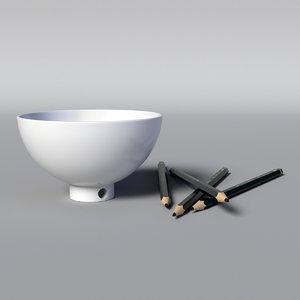 3D bowl sharpener pen model