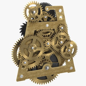 3D model clockwork gears brass clock