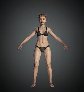 3D female base character model