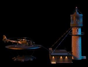 lighthouse tower sea 3D