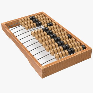 3D model vintage soviet wooden abacus