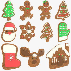 3D gingerbread christmas cookie pack model