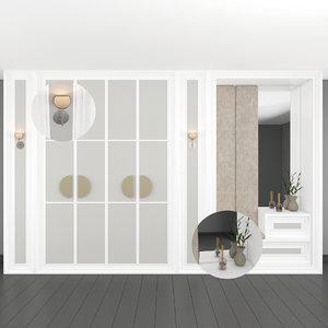 3D hallway wardrobe model