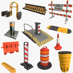 3D road block traffic sign model