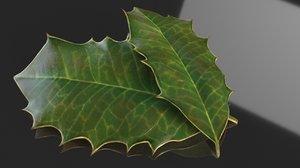 leaf holly christmas 3D model
