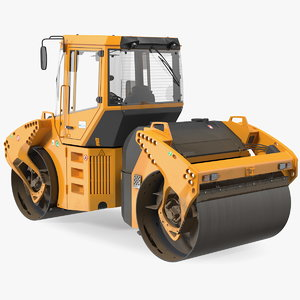 3D model articulated tandem road roller