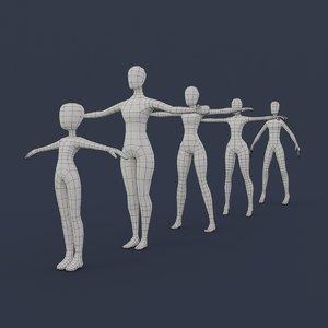 base mesh female girl 3D model