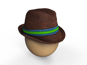 3D low-poly mens hat model