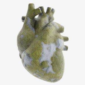 modeled stone heart model