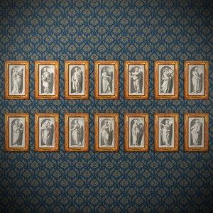 seven deadly sins virtues 3D model