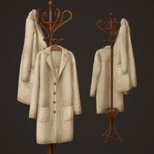 hospital coat rack ready 3D model