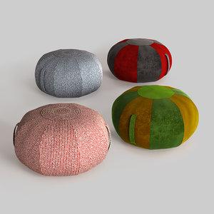3D ottoman poufs model