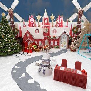 cristmas holiday amusment park 3D model