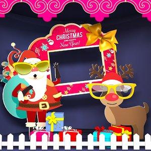 3D model merry happy new year