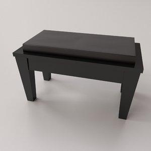 3D piano bench model