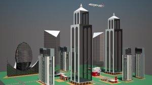 city aircraft animation 3D
