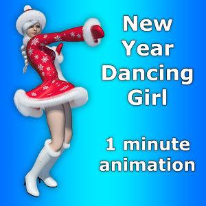 new year girl dance 3D