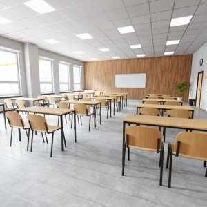 3D modern classroom interior architecture model