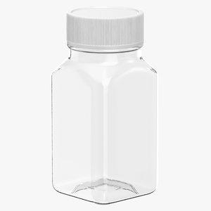 3D model plastic square bottle 2oz
