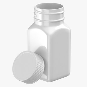 plastic square bottle 2oz 3D model
