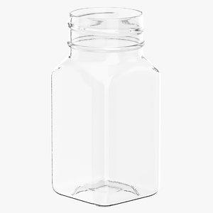 plastic square bottle 2oz 3D