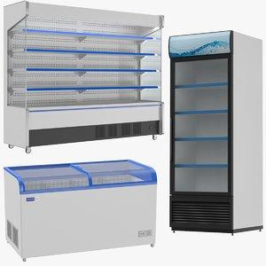 3D supermarket refrigerator freezer