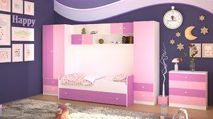 kids room design scene 3D model