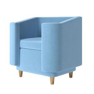3D model blue fabric single sofa