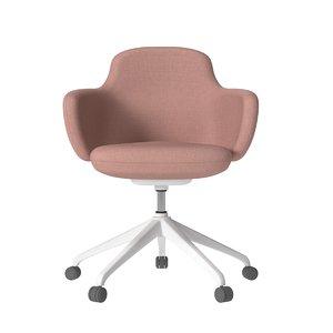 cream canvas office chair 3D model