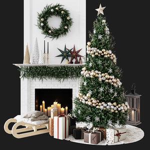 decorative set christmas 3D model