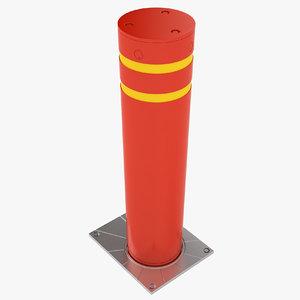 3D security bollard model