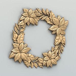 3D cnc decorative wreath model