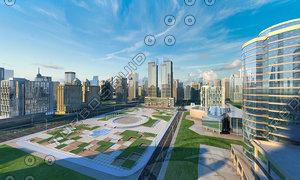 3D model includes buildings banks office
