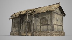 single thatched dwellings 3D