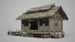 ancient asian fisherman 3D model