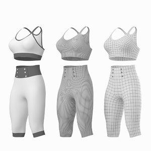 3D woman sportswear base mesh model